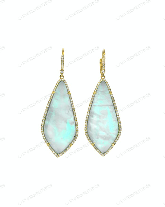 Opal gemstone and diamond earrings