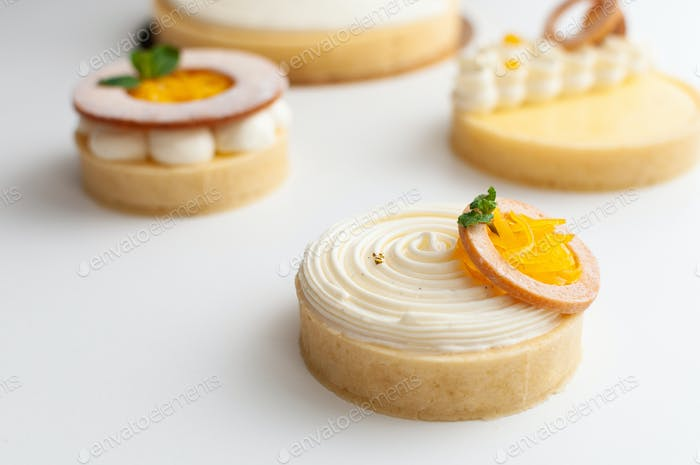 Lemon mini tarts on table