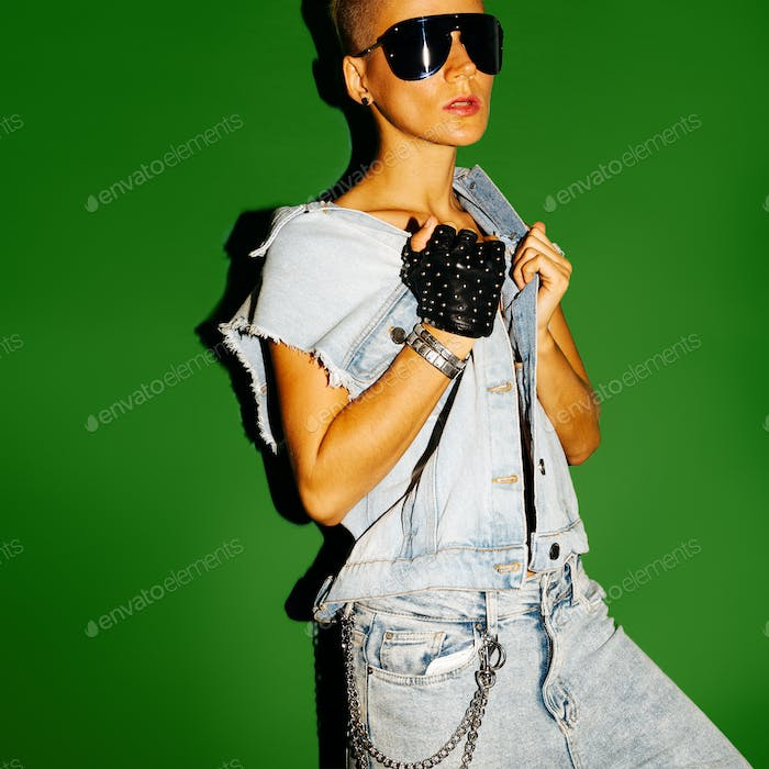 Model Tomboy stylish short hair and fashion jeans outfit. Cool s