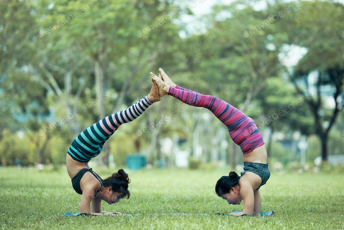 Enjoying acroyoga