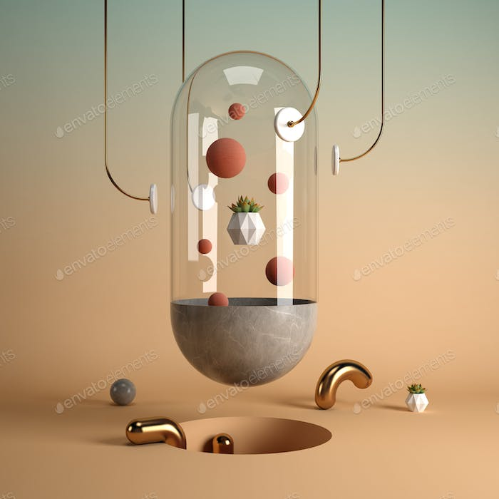 Abstract surrealism shape art 3D rendering