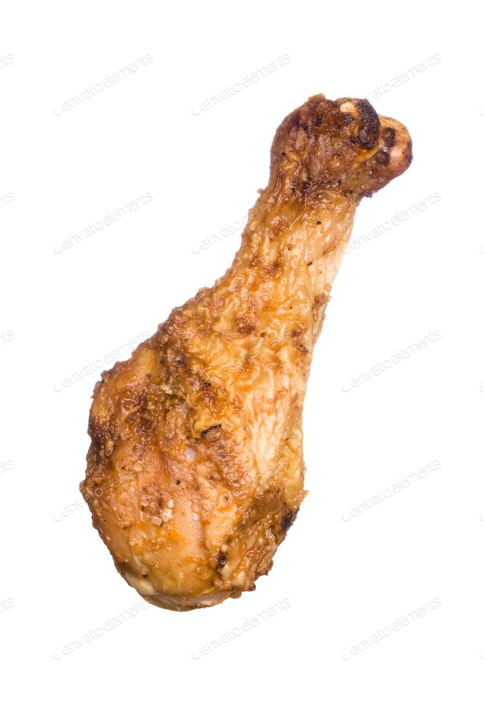 Chicken leg isolated on white
