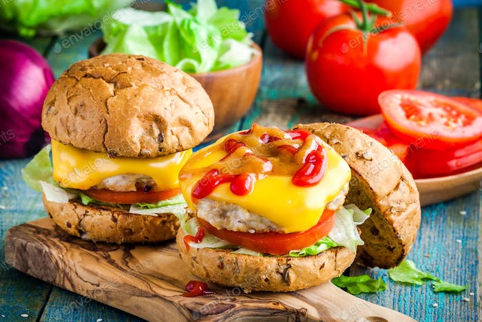 homemade burgers with chicken cutlet