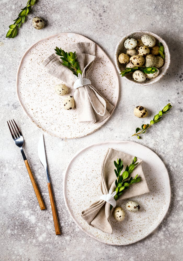 Easter table setting .Happy Easter concept.