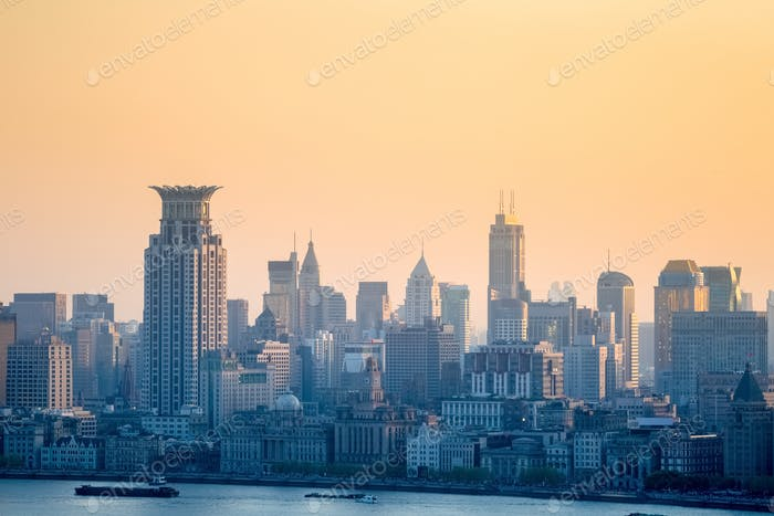 the bund at dusk, charming shanghai cityscape