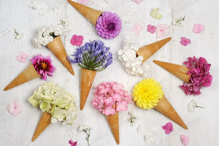 ice cream cones with beautiful flowers
