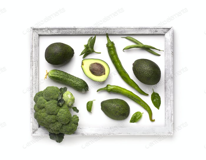 Green vegetables creating beautiful picture with frame