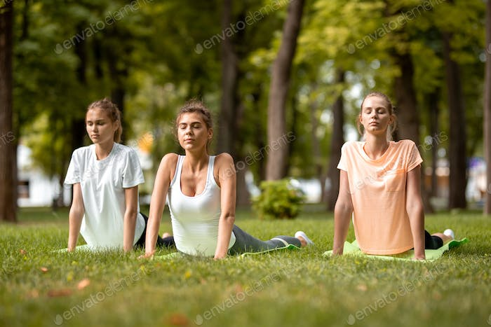 Three young slender girls doing stretching on yoga mats on green grass in the park on a warm day