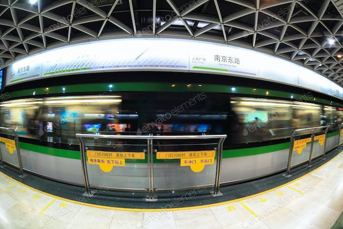 shanghai subway station by fish-eye view