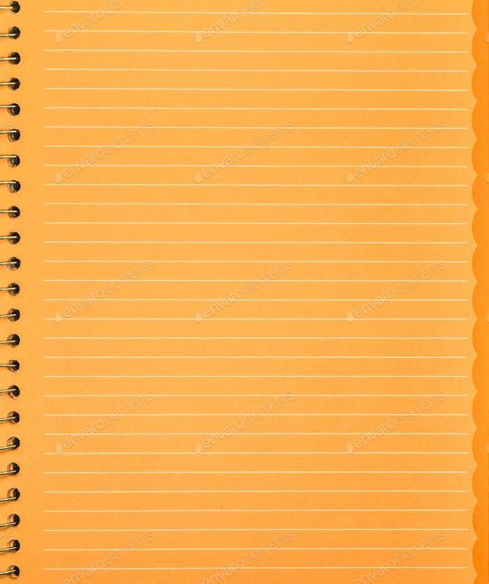 the orange piece of paper from the notebook with spring