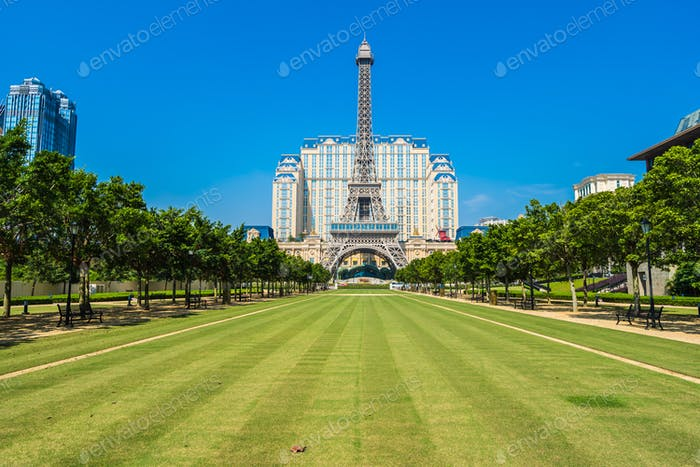 Beautiful eiffel tower landmark of parisian hotel and resort in