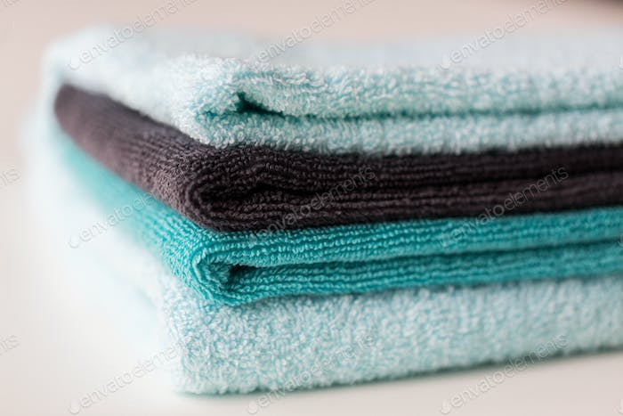 close up of stacked bath towels