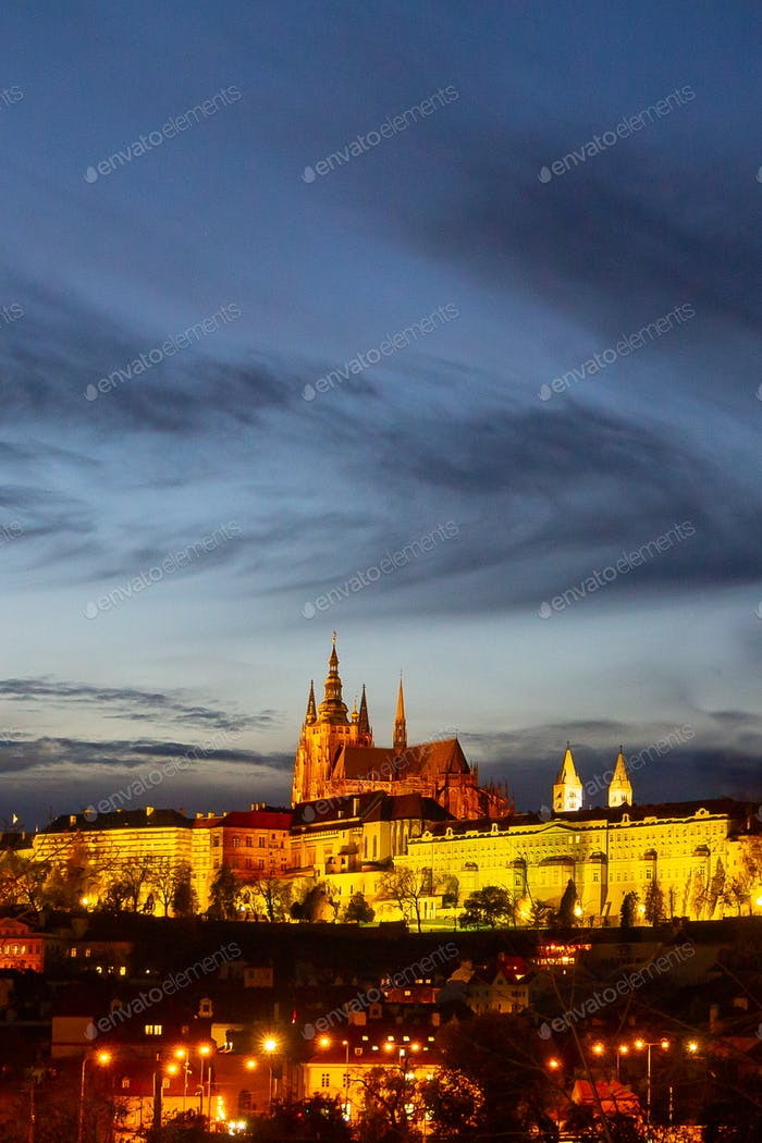 Colorful Prague Castle above the River Vltava after Sunset