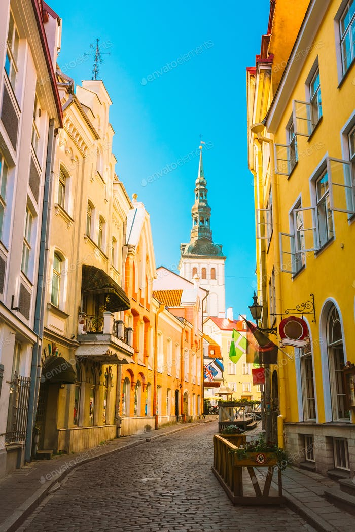 Tallinn, Estonia. View Of Narrow Street In Sunny Summer Day Unde