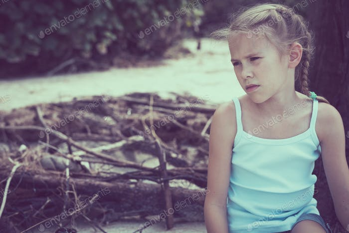 Portrait of one sad little girl.