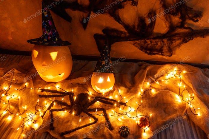 Halloween pumpkins with electric illumination.