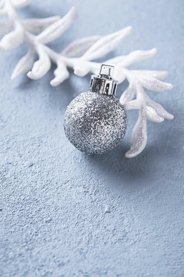 Silver glittering shining christmas ball