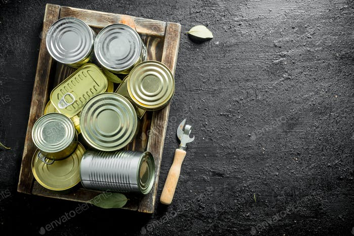 Assortment of different kinds of tin cans with canned food on tray.