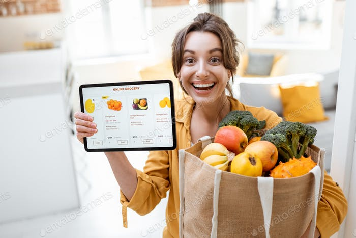 Woman shopping food online