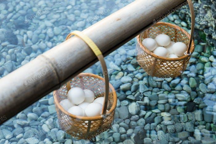 Japanese hot spring steam boil eggs