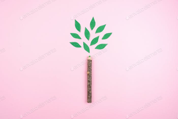 Ecological friendly, sustainable environment, Eco conscious concept with pen in the form of a tree