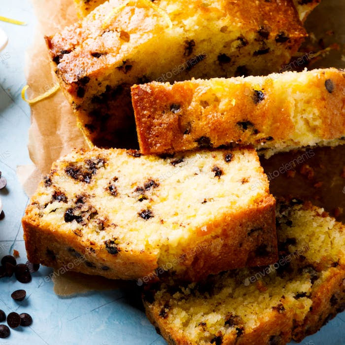 Cake with Lemon and chocolate.Bakery products.