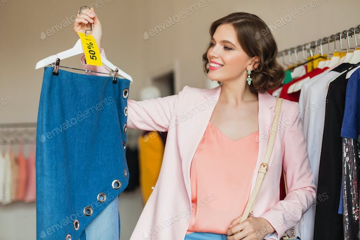 happy excited woman on fashion sale