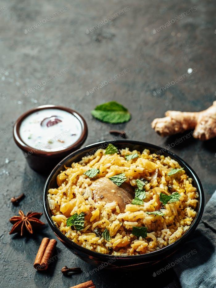 Pakistani chicken biryani rice, copy space