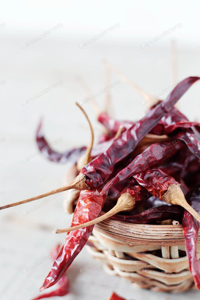 Dried chilly on wooden