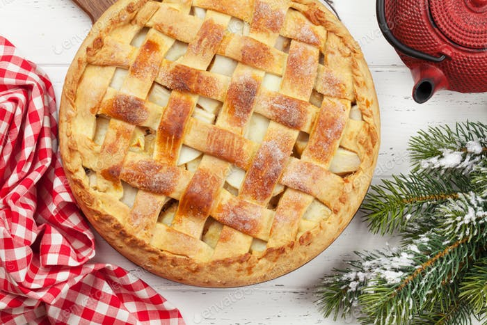 Christmas holiday greeting card with apple pie
