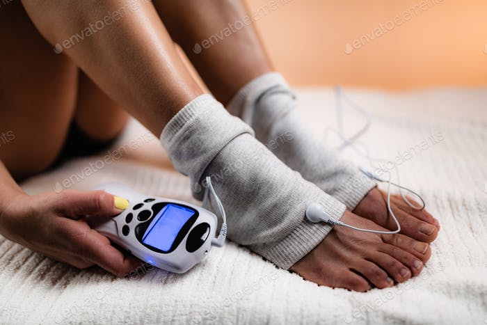 Ankle Joint Physical Therapy with TENS Electrode Brace Pads,  TENS