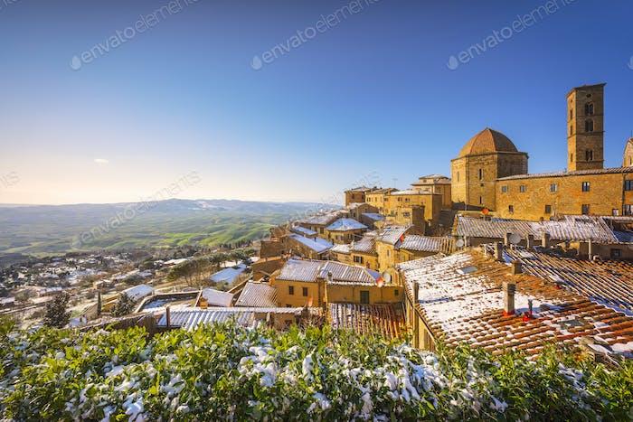 Volterra snowy town in winter. Tuscany, Italy