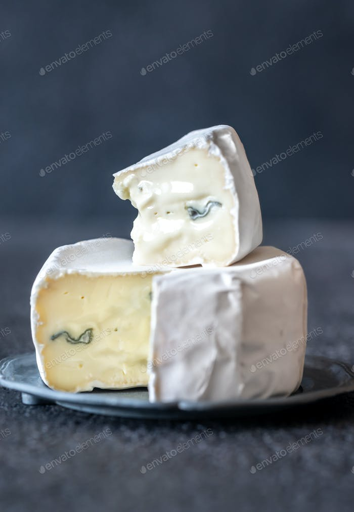 Soft cheese with white and blue mold