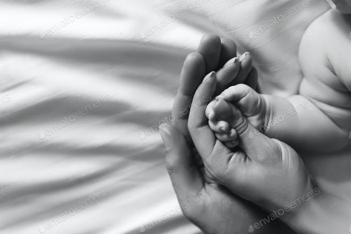 abgeschnittenes Bild einer Familie, die Händchen mit einem Sohn im Bett hält, schwarz und weiß