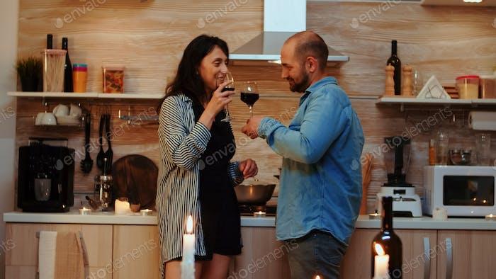Couple having romantic date