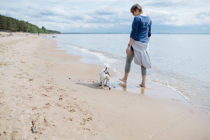 Frau zu Fuß mit ihrem Hund am Sandstrand. Rückansicht.