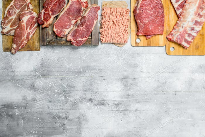 Raw meat. The various meats of pork and beef.