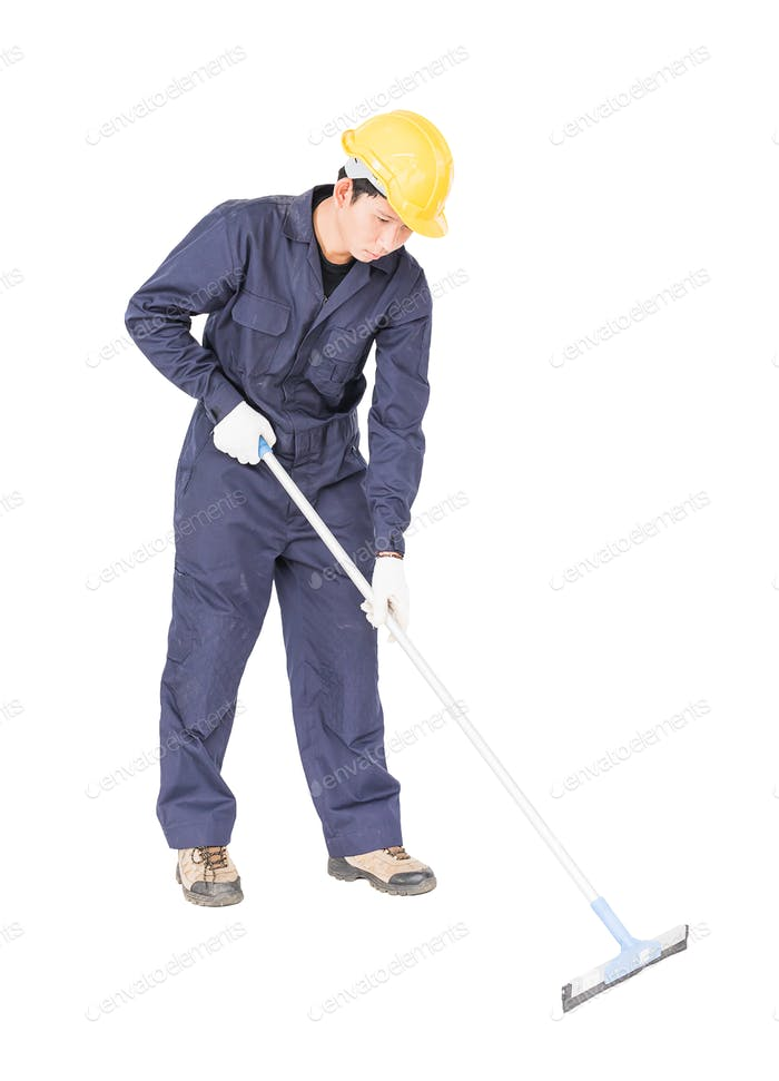 Young man hold squeegee window cleaner
