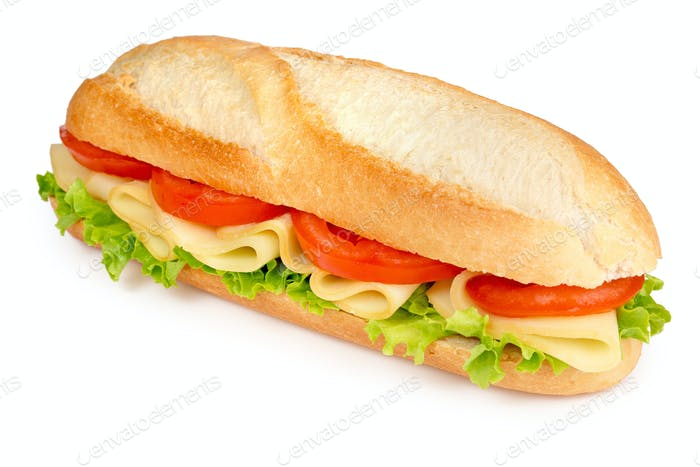 roll filled with cheese, tomato and lettuce