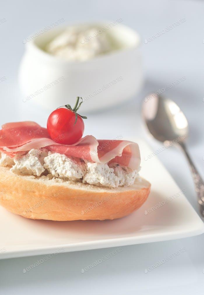 Robiola cheese sandwich