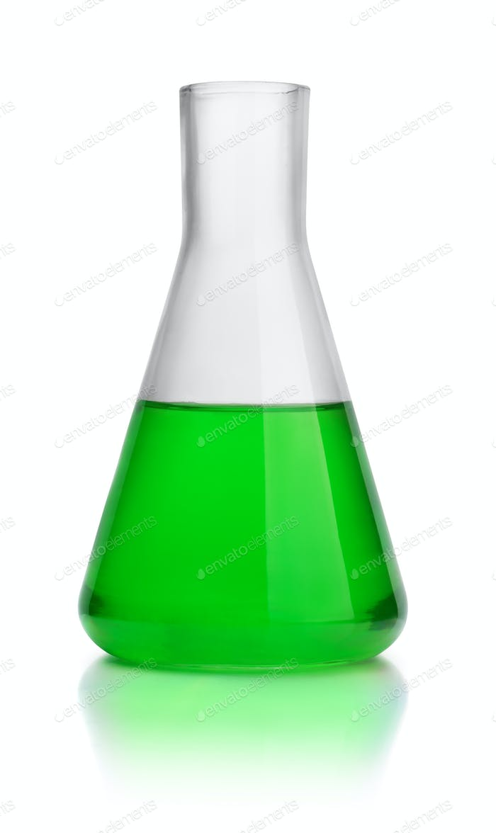 Laboratory conical flask with green liquid