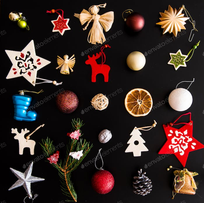 Collection of handmade Christmas ornaments on black