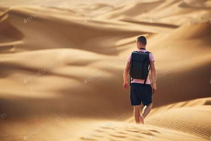 Tourist in desert