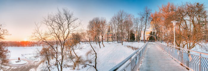 Gomel, Belarus. Sun Rising Over City Park At Winter Morning In G