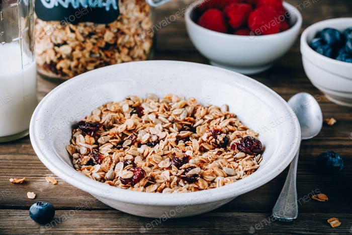 Homemade granola cereal with oats and nuts and dry cranberries