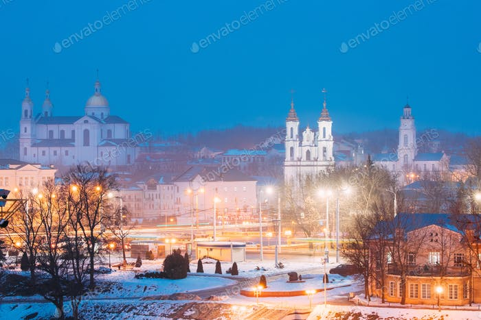 Vitebsk, Belarus. Evening Night View Cityscape With Famous Landm
