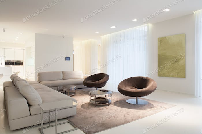 Living room furniture in modern house