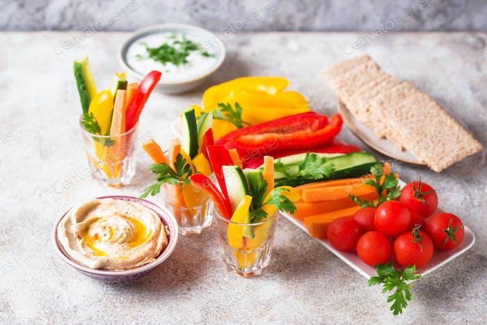 Healthy snacks. Vegetables and hummus