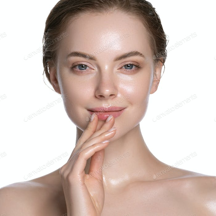 Beauty portrait view touching lips young woman healthy hydration clean skin face. Isolated on white