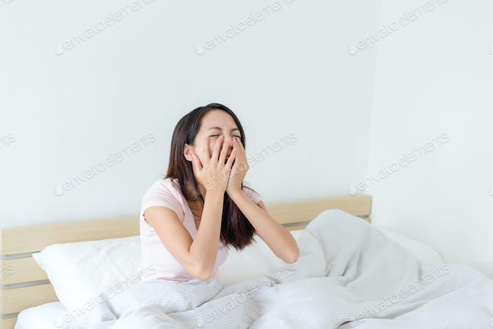 Depressed women in bed